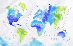 Watercolor world map green blue - stock illustration