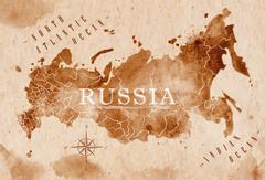 Map Russia retro - stock illustration