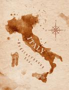 Stock Illustration of Map Italy retro