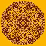 Ornamental henna mandala card. Geometric circle element in vector. Perfect cover - stock illustration