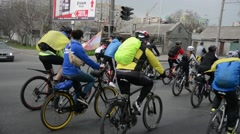 Mass bike ride devoted to Day of liberation of Odessa from fascist invaders Stock Footage