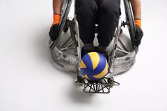 Handball in a wheelchair - stock photo