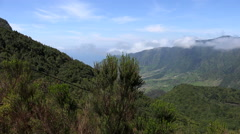 Madeira view of valley from high plateau Stock Footage