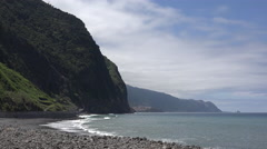 Madeira waves breaking on north shore rocks Stock Footage