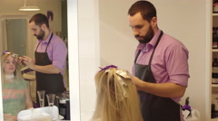 Hairdresser Dye Hair Stock Footage