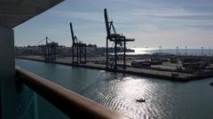 Spain Cadiz loading cranes from ship Stock Footage