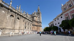 Seville cathedral with Giralda Tower Stock Footage