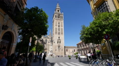 Seville Giralda Tower beyond plaza Stock Footage