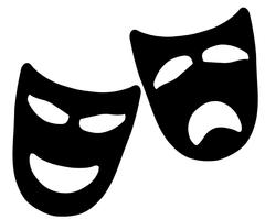 Tragedy and Comedy Masks Stock Illustration