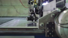Production of window glass with a machine on the window factory. 4K Stock Footage