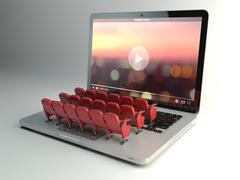 Video player app or home cinema concept. Laptop and rows of cinema seats, - stock illustration