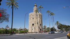 Seville Torre del Oro and palm trees Stock Footage