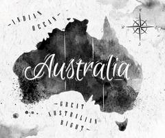 Ink Australia map - stock illustration