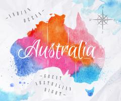 Watercolor map Australia pink blue - stock illustration