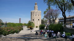 Seville Torre del Oro with tourists Stock Footage