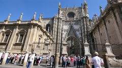 Seville cathedral facade Stock Footage