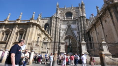 Seville cathedral with tourists Stock Footage