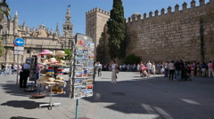 Seville postcards moorish wall and tourists Stock Footage