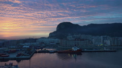 Gibraltar Rock and sunrise sky Stock Footage