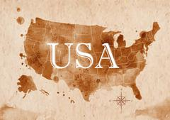 Map United States retro - stock illustration
