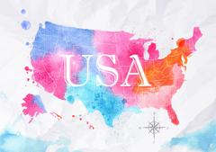 Watercolor map United States pink blue - stock illustration