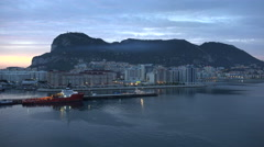 Gibraltar Rock in early morning before dawn Stock Footage