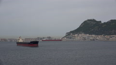 Gibraltar freighters off the Rock Stock Footage