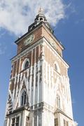 Poland, Krakow, Main Market, Town Hall Tower, Sunlit Kuvituskuvat