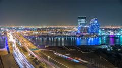 Business bay crossing bridge timelapse, 13-lane-bridge, over the Dubai Creek Stock Footage