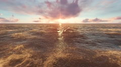 Sunset in the Ocean Time Lapse Moving Clouds in Sky and Sun Shine in Water Stock Footage
