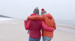 walk on the beach nice interaction - stock footage