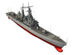 American Modern Warship Over White Background - stock illustration