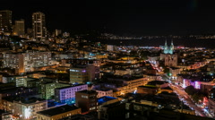 San Francisco Bay and Russian Hill at Night Stock Footage