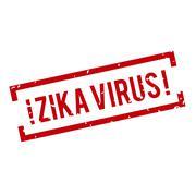 Red and white Zika Virus stamp - stock illustration