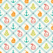 Seamless pattern of anchor, sailboat shape and line - stock illustration