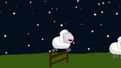 Counting Sheep that Jumping Above a Wooden Fence in a Starry Night - stock footage