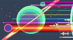 Space rockets flying past large planets and stars, retro futurism, animation Stock Footage
