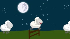Counting Sheep that Jumping Above a Wooden Fence on a Full Moon Night Stock Footage