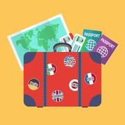 Traveler suitcase, earth map, passports - stock illustration
