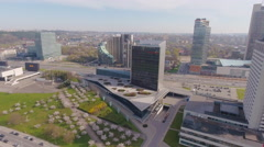 Lithuania, Vilnius cityscape on sunset, aerial view. Stock Footage
