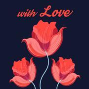 Graphics red tulips Stock Illustration