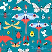 Seamless graphic pattern with different insects - stock illustration