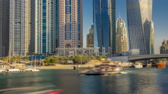 Close up View of Dubai Marina tallest Towers in Dubai at day timelapse Stock Footage