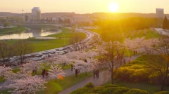 Lithuania, Vilnius cityscape on sunset, high angle view. Stock Footage