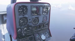 View at control panel of helicopter in moment of flight. Sunny day Stock Footage