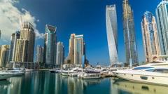 View of Dubai Marina tallest Towers in Duba timelapse hyperlapse Stock Footage