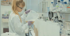 Experiment in a pharma company lab Stock Footage