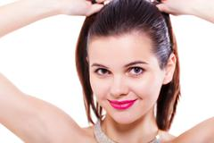 Young beauty woman face with makeup make-up - stock photo