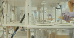 Tracking shot of scientific experiment Stock Footage