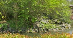 Summer Day in a Beautiful Park With a Waterfall. - stock footage